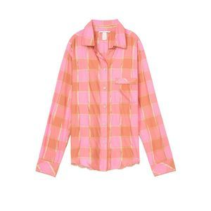 Victoria Secret Gold Pink Flannel Top